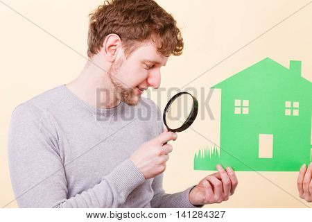Young Man With Person And House.