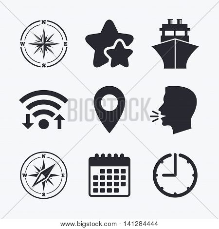 Windrose navigation compass icons. Shipping delivery sign. Location map pointer symbol. Wifi internet, favorite stars, calendar and clock. Talking head. Vector