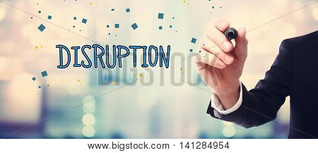 Businessman Drawing Disruption Concept