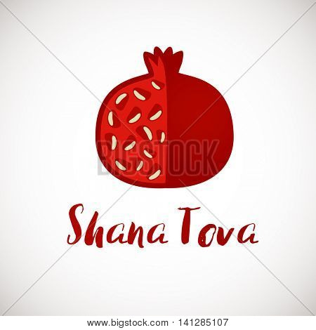 Shana Tova - Happy New Year card design with brush pen lettering and pomegranate fruit