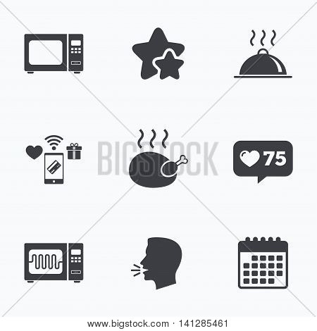 Microwave grill oven icons. Cooking chicken signs. Food platter serving symbol. Flat talking head, calendar icons. Stars, like counter icons. Vector