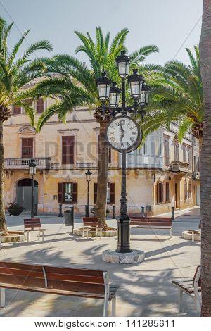 Plaza de Alfonso III square at Ciutadella old town at Menorca island, Balearic Islands, Spain.