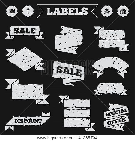 Stickers, tags and banners with grunge. Plate dish with forks and knifes icons. Chief hat sign. Crosswise cutlery symbol. Dessert fork. Sale or discount labels. Vector