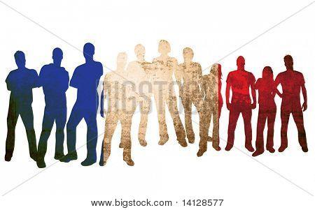Frankreich Flagge Stil der Menschen Silhouetten