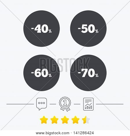Sale discount icons. Special offer price signs. 40, 50, 60 and 70 percent off reduction symbols. Chat, award medal and report linear icons. Star vote ranking. Vector
