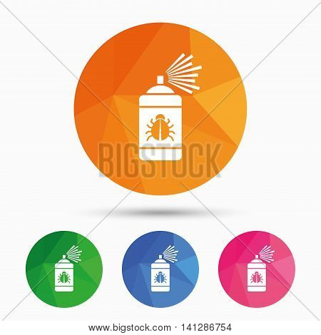 Bug disinfection sign icon. Fumigation symbol. Bug sprayer. Triangular low poly button with flat icon. Vector