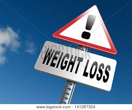 weight loss lose extra pounds by sport or dieting losing overweight kilos and stop obesity road sign billboard 3D illustration