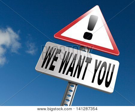 we want you for the job application, hiring now 3D illustration