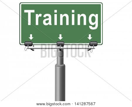 training learning for knowledge and wisdom or physical fitness sport practice work out or education with text and word concept  3D illustration