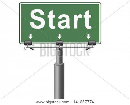 start new life or road to fresh begin, road sign billboard. 3D illustration