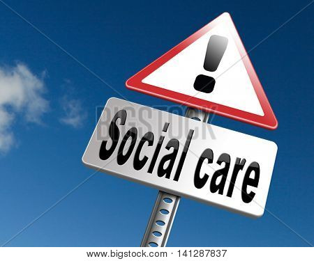 Social care or health security healthcare insurance pension disability welfare and unemployment programs 3D illustration