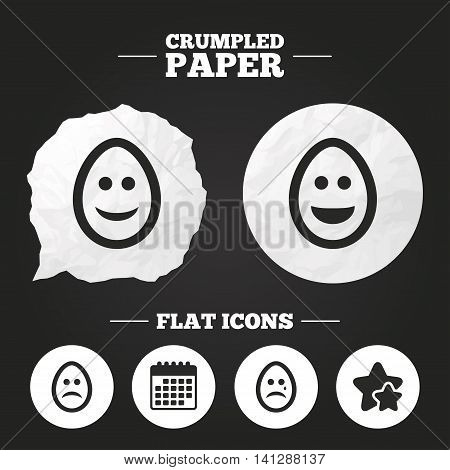 Crumpled paper speech bubble. Eggs happy and sad faces icons. Crying smiley with tear symbols. Tradition Easter Pasch signs. Paper button. Vector