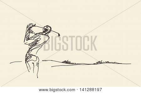 Sketch of a man hitting golf ball. Vector illustration