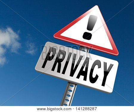 private and personal information road sign, billboard for privacy protection and discretion of restricted info 3D illustration