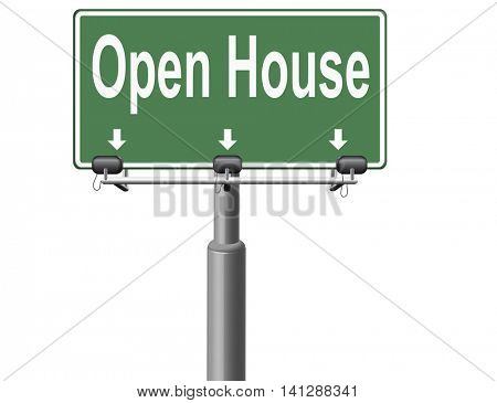 Open house or model house viewing before sale or renting a new home 3D illustration