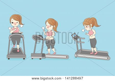 fat woman is running on the Treadmill