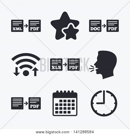 Export file icons. Convert DOC to PDF, XML to PDF symbols. XLS to PDF with arrow sign. Wifi internet, favorite stars, calendar and clock. Talking head. Vector