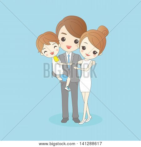 Father holding child with mother amd smile to you