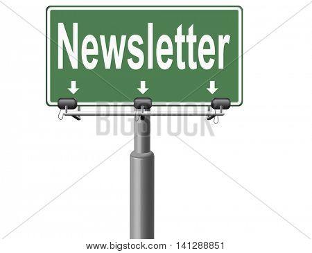newsletter latest hot breaking news bulletin 3D illustration