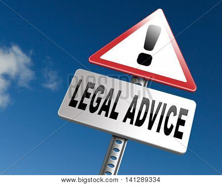 legal advice or information from lawyer advisor when going to trial 3D illustration