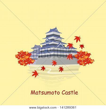 cute cartoon japan matsumoto castle great for Japan travel concept