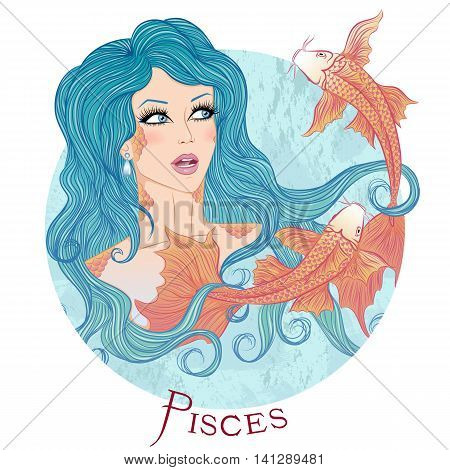 Zodiac. Vector illustration of the astrological sign of Pisces as a beautiful girl with long hair. Round shape