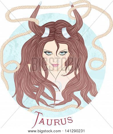 Zodiac. Vector illustration of the astrological sign of Taurus as a beautiful girl with long hair. Round shape