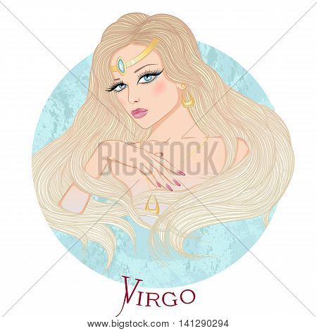 Zodiac. Vector illustration of the astrological sign of Virgo as a beautiful girl with long hair. Round shape