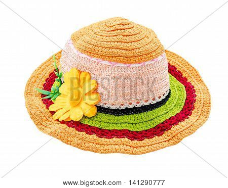 Colorful woolen hat with flower isolated on white background Saved clipping path.