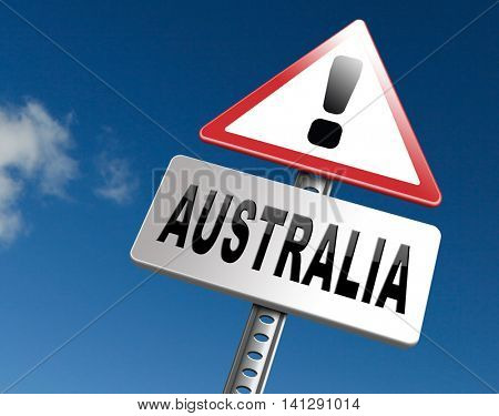 Australia down under continent tourism holiday vacation economy country, road sign billboard. 3D illustration