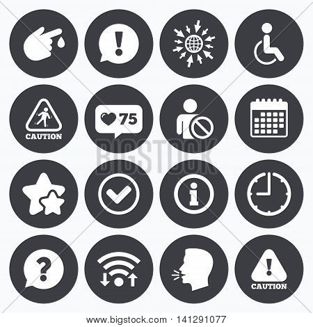 Calendar, wifi and clock symbols. Like counter, stars symbols. Caution and attention icons. Question mark and information signs. Injury and disabled person symbols. Talking head, go to web symbols. Vector