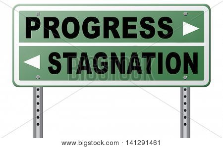 progress or stagnation innovation or stand still and no market or economy and business growth 3D illustration