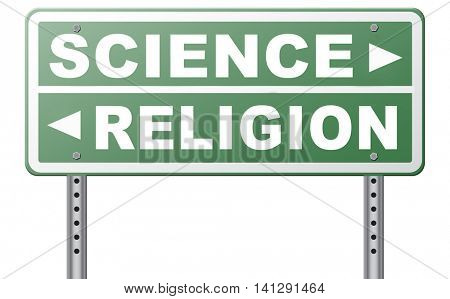 science religion intelligent design or Darwinism relationship between belief in God faith and reality evidence and proof evolution or creationism  3D illustration