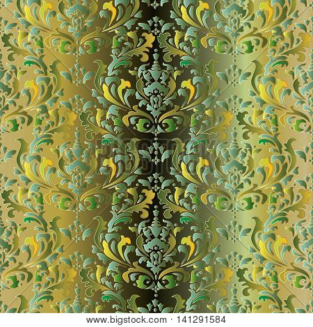 Damask vintage seamless pattern background with elegant oriental volumetric green and yellow ornaments.Luxury element for design in Eastern style.Ornate 3d decor with shadow and highlights
