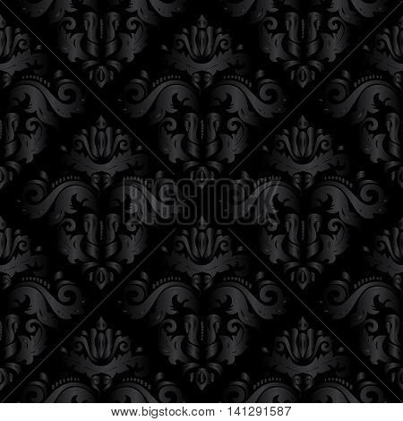 Dark black damask vintage seamless pattern background with elegant oriental rich volumetric ornaments. Luxury element for design in Eastern style.Ornate 3d decor with shadow and highlights.