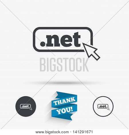 Domain NET sign icon. Top-level internet domain symbol with cursor pointer. Flat icons. Buttons with icons. Thank you ribbon. Vector