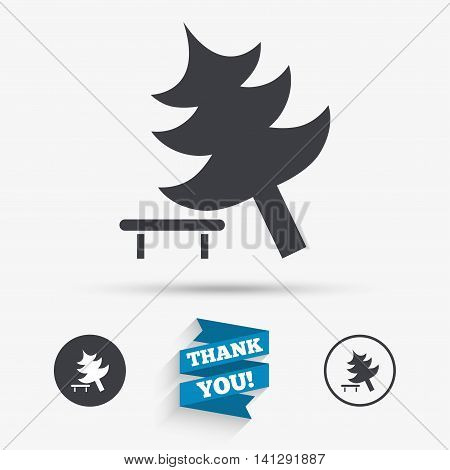 Falling tree sign icon. Caution break down christmas tree symbol. Flat icons. Buttons with icons. Thank you ribbon. Vector