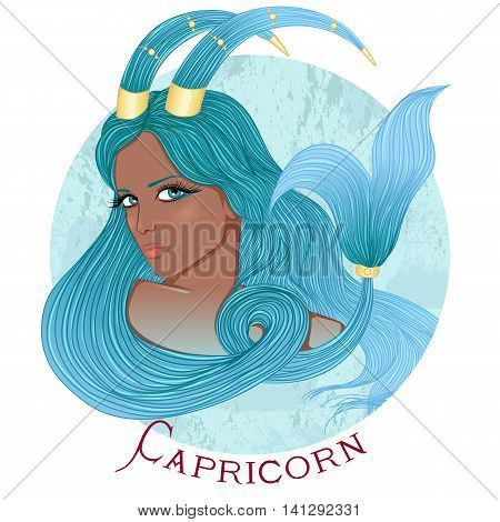 Zodiac. Vector illustration of the astrological sign of Capricorn as a beautiful african american girl with long hair. Round shape