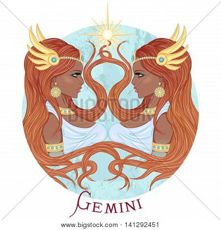 Zodiac. Vector illustration of the astrological sign of Gemini as a beautiful african american girl with long hair. Round shape