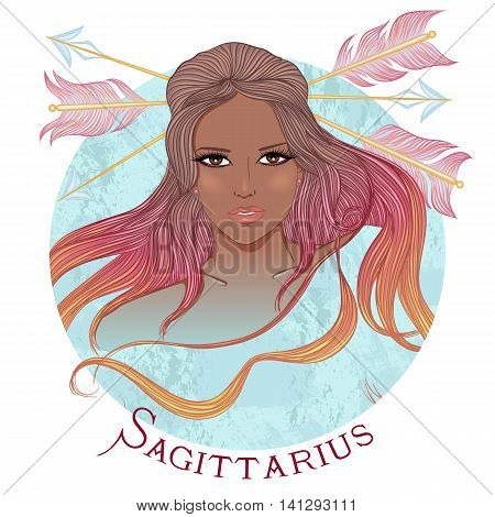 Zodiac. Vector illustration of the astrological sign of Sagittarius as a beautiful african american girl with long hair. Round shape