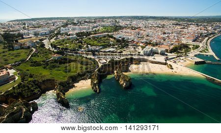 Beautiful ocean beach among the cliffs in the south of Portugal, Lagos