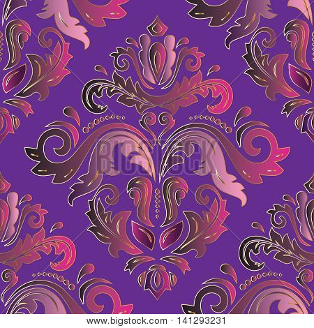 Purple damask vintage seamless pattern background with elegant oriental rich volumetric ornaments. Luxury element for design in Eastern style.Ornate 3d decor with shadow and highlights