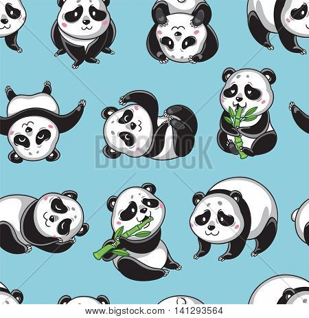 Seamless cartoon wallpaper with cute pandas isolated on blue background