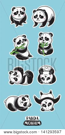 Set vector stickers isolated character cartoon panda