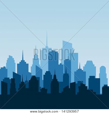 abstract city, cityscape skyscrapers, blue vector background