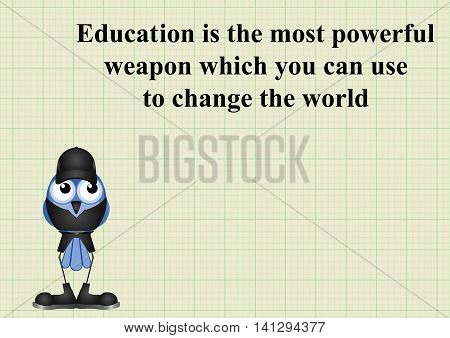 Education to change the world quotation on graph paper background with copy space for own text