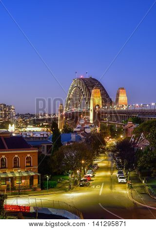 Sydney Harbour Bridge and Sydney skyline viewed from Observatory Hill on twilight