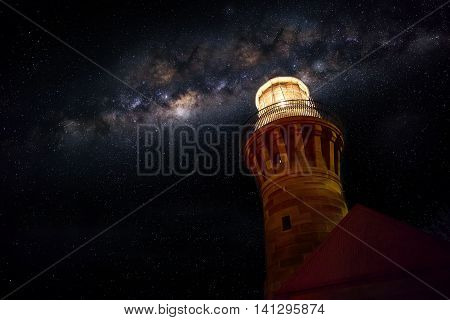 Milky Way Galaxy over the light house lowkey of light