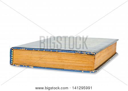 Old blue book isolated on a white background Saved clipping path.