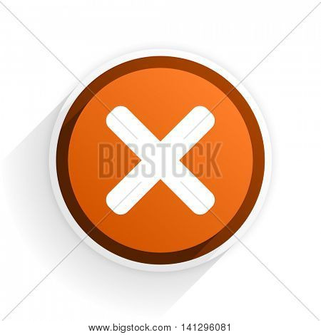 cancel flat icon with shadow on white background, orange modern design web element